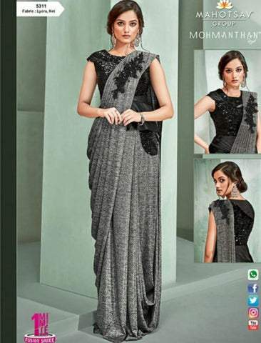 Superb MOH5311 Cocktail Wear Grey Black Lycra Net Silk Indo Western Saree by Fashion Nation
