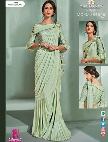 Dainty MOH5313 Cocktail Wear Green Lycra Net Silk Indo Western Saree by Fashion Nation
