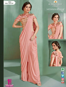 Beautiful MOH5314 Cocktail Wear Pink Lycra Net Silk Indo Western Saree by Fashion Nation
