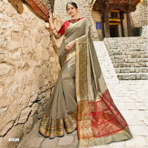 Superb LS54461 Festive Grey Maroon Weaving Cotton Silk Saree by Fashion Nation