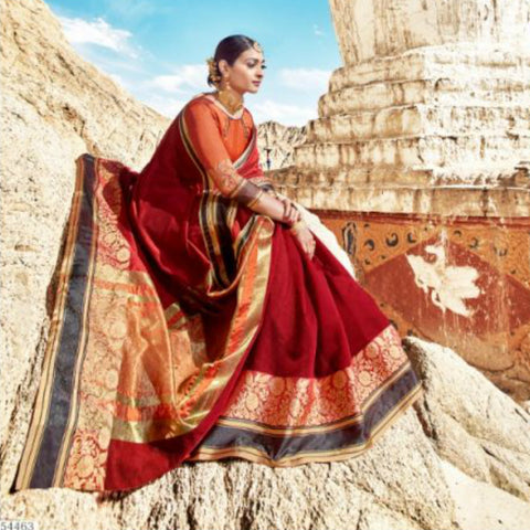 Outstanding LS54463 Maroon Orange Weaving Cotton Silk Saree by Fashion Nation