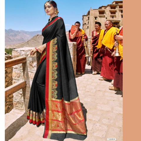 Party Wear LS54464 Pure Black Weaving Cotton Silk Saree by Fashion Nation