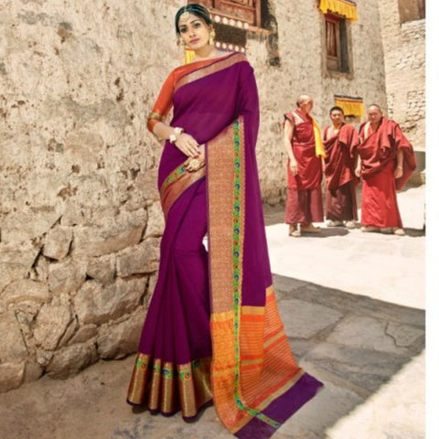 Beautiful LS54465 Heritage Purple Rust Weaving Cotton Silk Saree - Fashion Nation