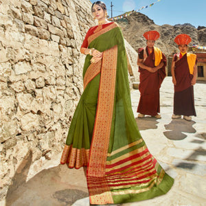 Ethnic LS54466 Cultural Green Red Weaving Cotton Silk Saree by Fashion Nation