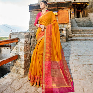 Regal LS54467 Colourful Yellow Pink Weaving Cotton Silk Saree - Fashion Nation