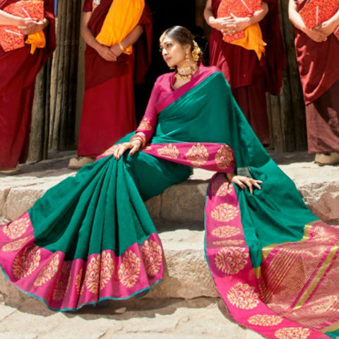 Attractive LS54468 Dressy Green Pink Weaving Cotton Silk Saree - Fashion Nation