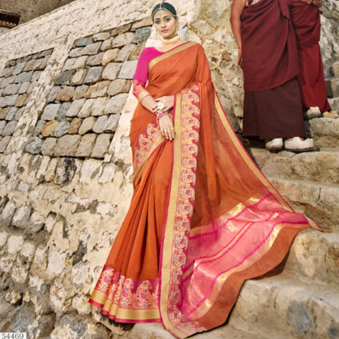 Pretty LS54469 Festive Rust Pink Weaving Cotton Silk Saree by Fashion Nation