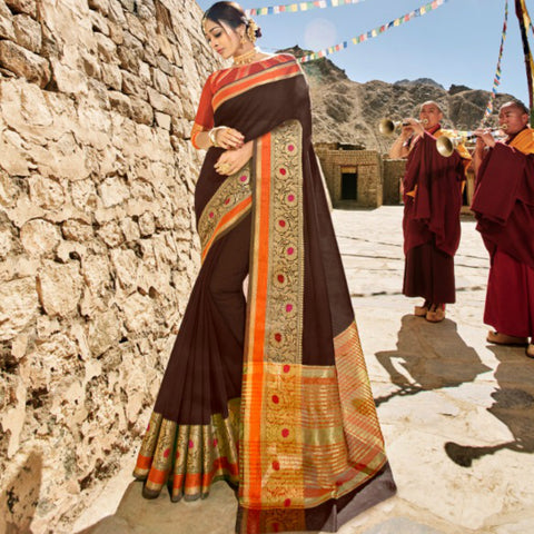 Gorgeous LS54470 Finest Brown Rust Weaving Cotton Silk Saree by Fashion Nation