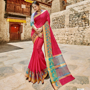 Royal LS54471 Grand Pink Blue Weaving Cotton Silk Saree by Fashion Nation
