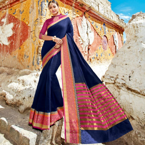 Bright LS54472 Designer Pink Blue Weaving Cotton Silk Saree - Fashion Nation