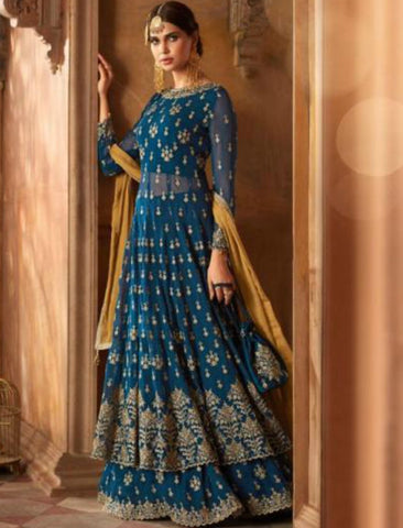 Unique Indo Western GLA59001 Georgette Silk Anarkali Suit by Fashion Nation