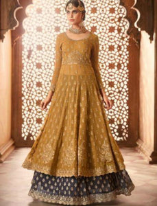 Opulent Indo Western GLA59003 Blue Yellow Georgette Silk Anarkali Suit by Fashion Nation