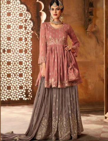 Splendid Indo Western GLA59004 Mauve Grey Georgette Silk Sharara Suit