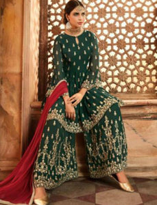 Marvellous Indo Western GLA59005 Green Maroon Georgette Silk Sharara Suit - Fashion Nation