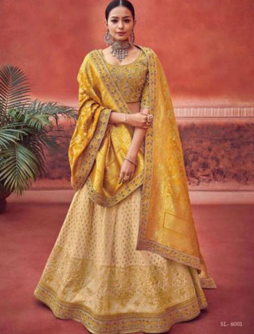 Festive Kimora KIM6001 Bridal Beige Yellow Jacquard Silk Lehenga Choli by Fashion Nation