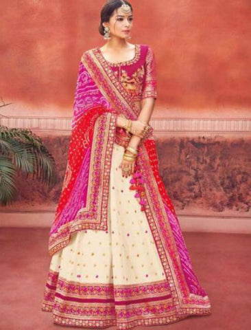 Rajasthani Kimora KIM6003 Bridal Cream Rani Pink Silk Jacquard Lehenga Choli by Fashion Nation