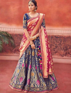 Royal Kimora KIM6007 Bridal Blue Rani Pink Silk Jacquard Lehenga Choli by Fashion Nation