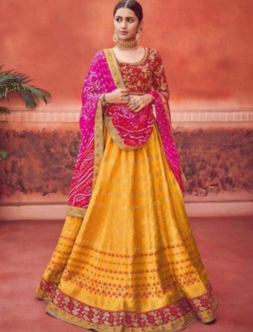 Rajasthani Kimora KIM6008 Bridal Yellow Rani Pink Silk Jacquard Lehenga Choli - Fashion Nation