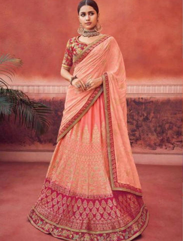 Latest Kimora KIM6009 Bridal Peach Jacquard Silk Lehenga Choli by Fashion Nation