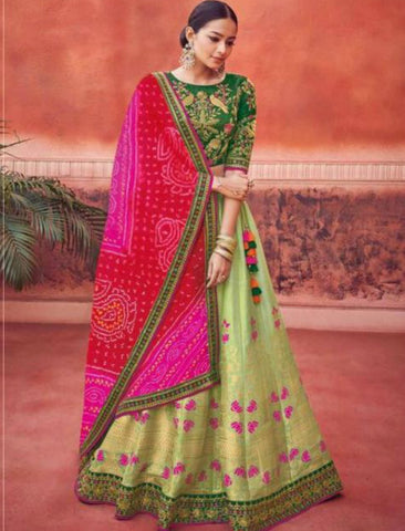 Rajasthani Bandhej Kimora KIM6010 Bridal Green Multicoloured Silk Jacquard Lehenga Choli by Fashion Nation