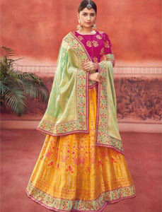 Majestic Kimora KIM6011 Bridal Yellow Pink Jacquard Silk Lehenga Choli by Fashion Nation
