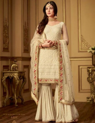 Opulent MAI6402 Fabulous Cream Benarasi Jacquard Net Silk Kurta with Lacha by Fashion Nation
