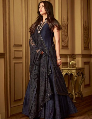 Indo Western MAI6403 Partywear Black Net Silk Floor Length Gown with String Along Dupatta by Fashion Nation
