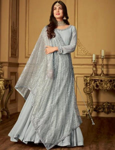 Indo Western MAI6404 Dainty Benarasi Silk Floor Length Gown with Shimmer String Along Dupatta by Fashion Nation