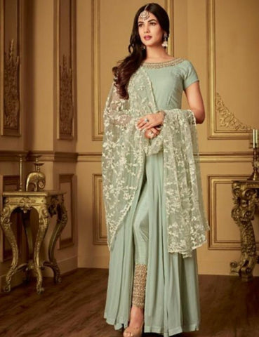 Indo Western MAI6405 Designer Green Georgette Silk Floor Length Anarkali with Pants by Fashion Nation