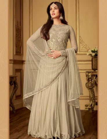 Indo Western MAI6406 Delicate Grey Net Satin Silk Floor Length Gown - Fashion Nation