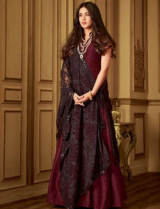 Indo Western MAI6407 Partywear Magenta Black Net Silk Floor Length Gown with String Along Dupatta by Fashion Nation