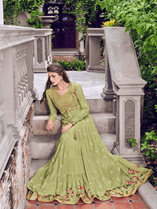 Latest Indo Western Green Muslin Jacquard Long Gown with Jacket by Fashion Nation