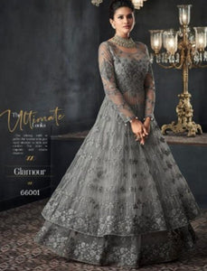 Grand Indo Western GLA66001 Grey Net Silk Abaya Style Layered Anarkali by Fashion Nation