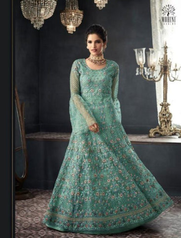 Stylish Indo Western GLA66002 Aqua Net Silk Abaya Style Anarkali by Fashion Nation
