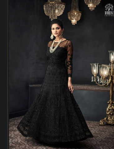 Party Wear Indo Western GLA66003 Black Net Silk Abaya Style Anarkali by Fashion Nation