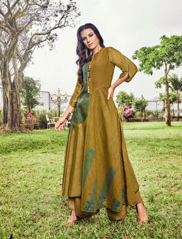 Indo Western PRP6633 Unique Pear Green Jacquard Readymade Long Dress/Kurti - Fashion Nation