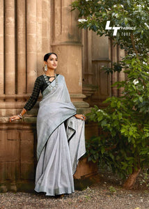 Daily Fashion Grey Linen Silk Weaving Saree with Blouse - Fashion Nation