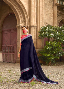 Unique Trend Peacock Blue Linen Silk Weaving Saree & Pink Blouse - Fashion Nation