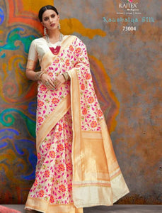 Floral RAJ73004 Resplendent Off-White Multicoloured Handloom Weaving Silk Saree by Fashion Nation
