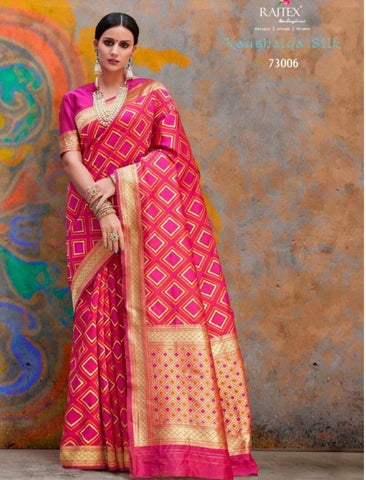 Beautiful RAJ73006 Dazzling Pink Handloom Weaving Silk Saree - Fashion Nation
