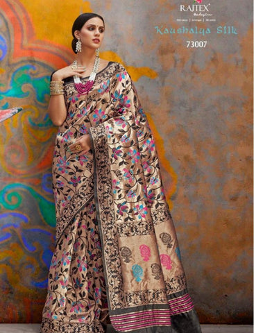 Partywear RAJ73007 Designer Multicoloured Handloom Weaving Silk Saree by Fashion Nation