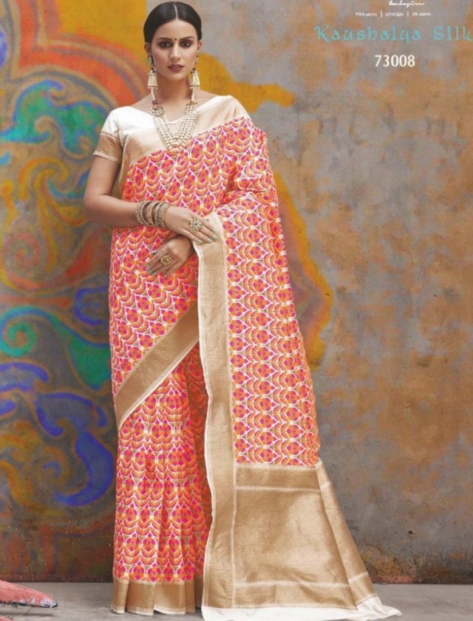 Pleasing RAJ73008 Brilliant Multicoloured Handloom Weaving Silk Saree by Fashion Nation