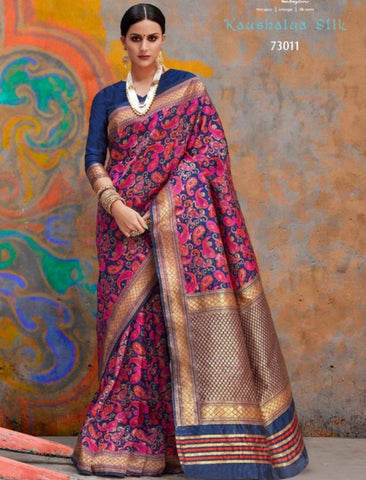 Splendid RAJ73011 Superb Blue Multicoloured Handloom Weaving Silk Saree by Fashion Nation