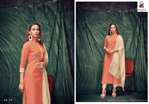 Daily Delights A2Z76 Casual Wear Orange Silk Kurta with Beige Dupatta - Fashion Nation