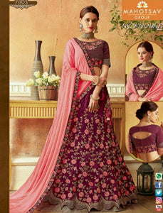 Superb MAH7803 Wedding Wear Purple Pink Silk Lehenga Choli - Fashion Nation