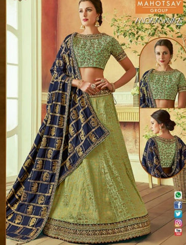 Unique MAH7807 Wedding Wear Blue Green Silk Lehenga Choli - Fashion Nation