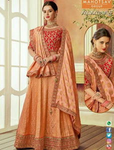 Festive MAH7810 Wedding Wear Peach Red Silk Lehenga Choli - Fashion Nation