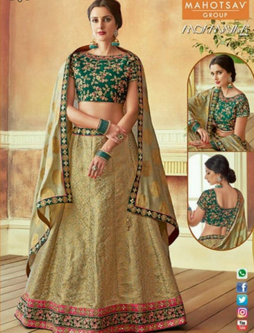 Latest MAH7812 Wedding Wear Beige Green Silk Lehenga Choli - Fashion Nation