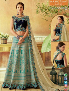 Excellent MAH7815 Wedding Wear Blue Silk Lehenga Choli - Fashion Nation