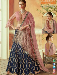 Attractive MAH7817 Wedding Wear Blue Pink Silk Lehenga Choli - Fashion Nation